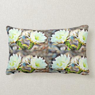 Almofada Lombar Travesseiro decorativo branco de duas flores do