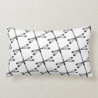 Almofada Lombar Travesseiro decorativo da libélula preto e branco