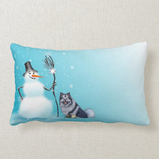 Almofada Lombar Travesseiro do boneco de neve e do keeshond