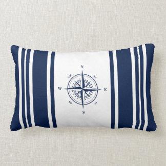 Almofada Lombar Travesseiro listrado náutico azul com estrela