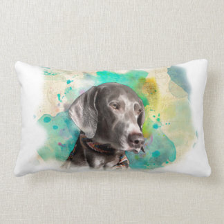"ALMOFADA LOMBAR TRAVESSEIRO LOMBAR 13"" DO WATERCOLOUR WEIMARANER X"