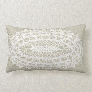 Almofada Lombar Travesseiro lombar do Doily branco de linho do
