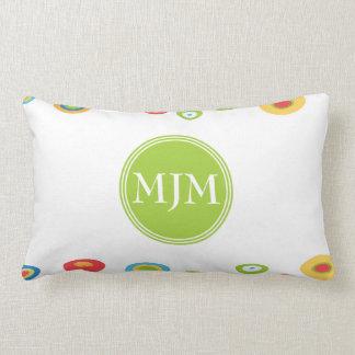 Almofada Lombar Travesseiro lombar do monograma colorido dos