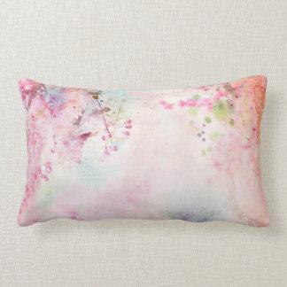 Almofada Lombar Travesseiro lombar floral da aguarela cor-de-rosa