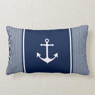 Almofada Lombar Travesseiro náutico listrado dos azuis marinhos