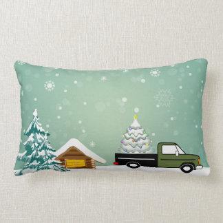 Almofada Lombar Travesseiro nevado da paisagem do caminhão da