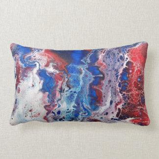 Almofada Lombar Travesseiro vermelho branco & do azul do abstrato