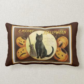 Almofada Lombar Um gato preto alegre do Dia das Bruxas e abóboras