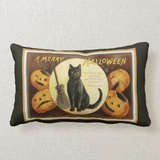 Almofada Lombar Um preto alegre do gato preto e das abóboras do