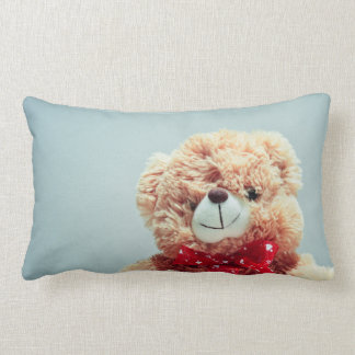Almofada Lombar Urso de ursinho com um arco vermelho