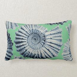 Almofada Lombar Verde de mar dos Seashells da espiral do cinza