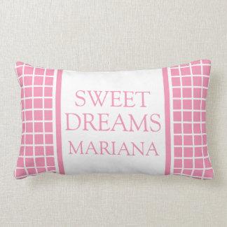 Almofada Lombar Verificações do branco em sonhos doces cor-de-rosa