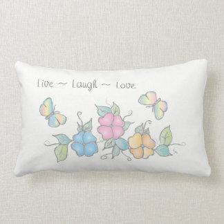 Almofada Lombar Vive o amor do riso, borboleta floral da aguarela