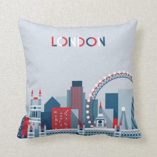 Almofada Londres, Inglaterra skyline vermelha, branca e