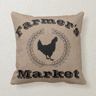 Almofada Louros & galinha do preto do mercado do fazendeiro