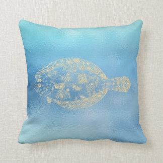 Almofada Lugar dourado Fis de Ombre Tiffany do Aqua do azul