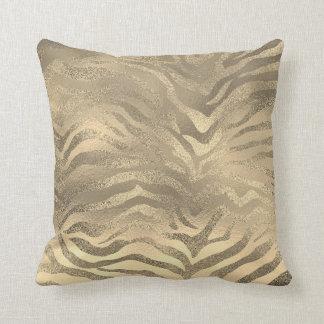 Almofada Lux animal do safari da pele da zebra do ouro Glam