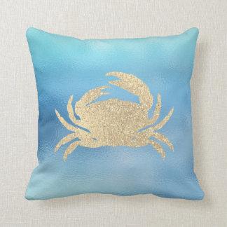 Almofada Lux dourado do caranguejo de Ombre Tiffany do Aqua