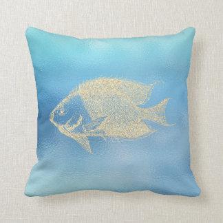 Almofada Lux dourado dos peixes de Ombre Tiffany do Aqua do
