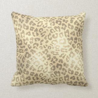 Almofada Luxo animal da pele de Lampart do ouro Glam do
