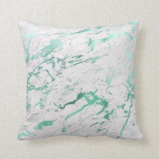 Almofada Luxo de mármore verde aquático branco da cerceta