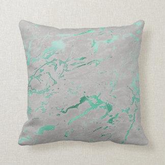 Almofada Luxo de mármore verde aquático cinzento da cerceta