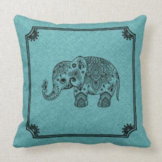 Almofada Luz - impressão de linho azul & elefante preto de
