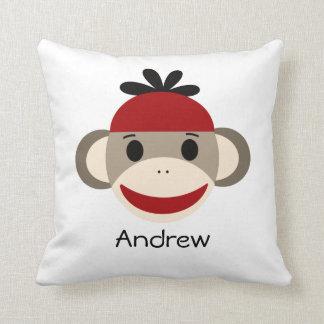Almofada Macaco da peúga & travesseiro decorativo da xadrez