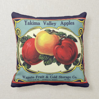 Almofada Maçãs do vale de Yakima da arte da etiqueta da