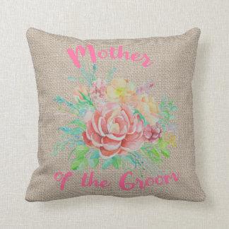 Almofada Mãe da serapilheira floral da aguarela do noivo