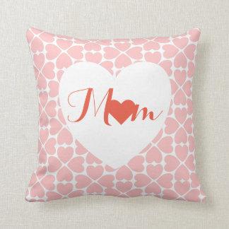 Almofada Mamã com corações do trevo da folha do rosa quatro