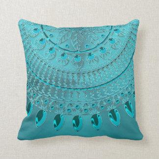 Almofada Mandala elegante do verde azul de turquesa