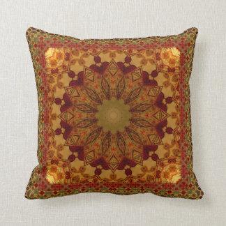 Almofada Mandala quadro Textured da oxidação e do ouro