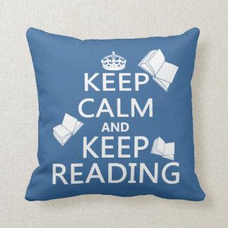 Almofada Mantenha calmo e mantenha ler