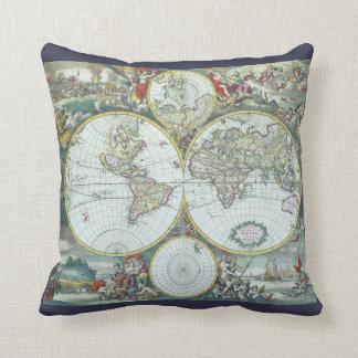 Almofada Mapa do mundo antigo do século XVII, Frederick De