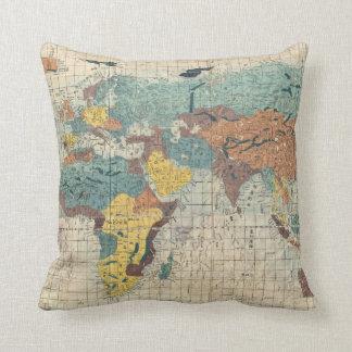 Almofada Mapa do mundo do japonês do vintage