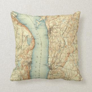 Almofada Mapa do vintage de Tarrytown NY & do Rio Hudson