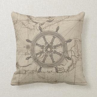 Almofada Mapa náutico com roda do navio