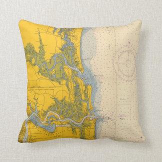Almofada Mapa náutico da carta de Amelia Island Florida