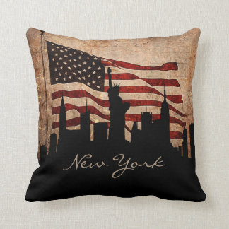 Almofada Marco rústico da skyline | de New York da bandeira