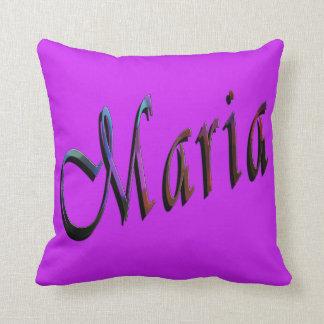 Almofada Maria, nome, logotipo, coxim roxo do lance