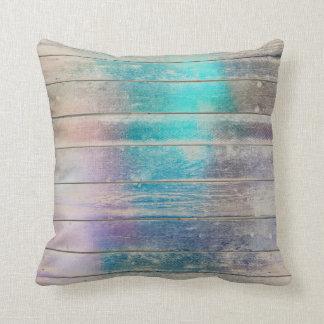Almofada Marrom sujo de madeira metálico Glam roxo de