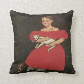 Almofada Menina de Ammi Phillips no vermelho com seus gato