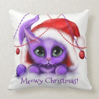 Almofada Meow roxo do gatinho do feriado