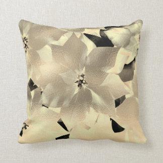 Almofada Metálico abstrato floral do preto Glam do ouro do