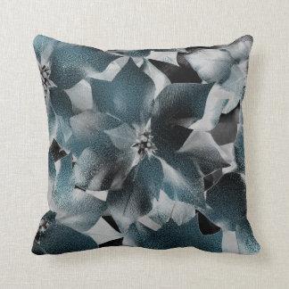 Almofada Metálico cinzento floral preto aquático da cerceta