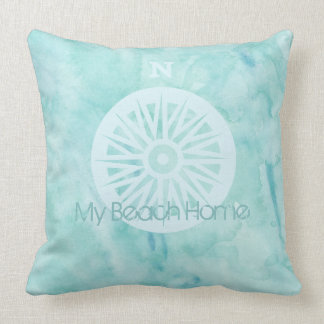 Almofada Meu travesseiro da aguarela da casa da praia