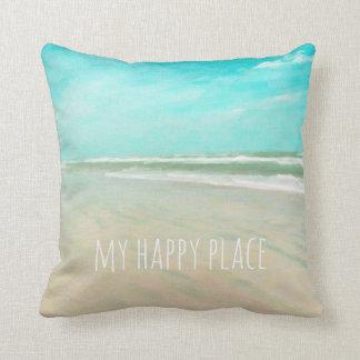 Almofada Minha cena feliz da praia do céu de turquesa do