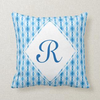 Almofada Monograma azul do diamante
