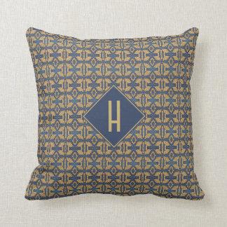 Almofada Monograma azul do ouro do teste padrão de Nouveau